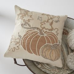 Embroidered Pumpkin Accent Pillow