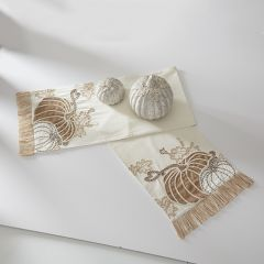 Embroidered Pumpkin Fringed Table Runner