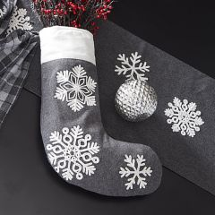 Embroidered Snowflakes Felt Stocking Set of 2