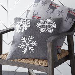 Embroidered Snowflakes Throw Pillow