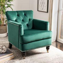 Emerald Velvet Tufted Arm Chair