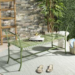 Antiqued Metal Garden Bench