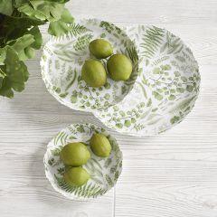 Fern Print Enameled Plates Set of 3