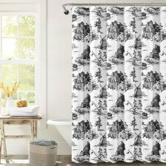 French Country Toile Farmhouse Shower Curtain