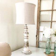 Distressed Farmhouse Table Lamp With Shade