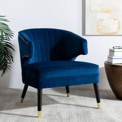 Dark Velvet Wingback Chair