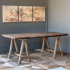 Reclaimed Wood Primitive Sawhorse Table