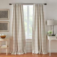 Linen Stripe Plaid Room Darkening Curtain Panel Set of 2 52x95