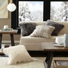 Modern Faux Fur Pillow Ivory