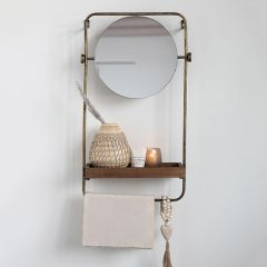Antiqued Wall Mirror With Shelf