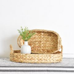 Braided Oval Tray With Handles Set of 2