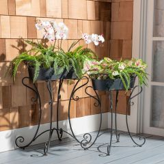 Scrolled Garden Planter Stand Set of 2