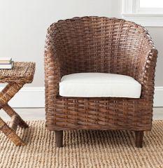 Rattan Barrel Chair With Cushion