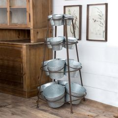 Tiered Storage Stand With Metal Buckets