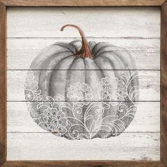 Lace Gray Pumpkin Whitewash Framed Wall Decor