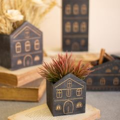 Rustic Wooden House Planter Collection Set of 4