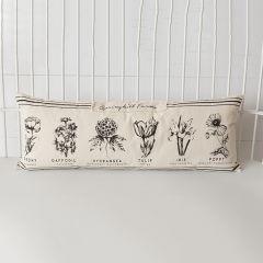 Oversized Simple Botanical Print Lumbar Pillow
