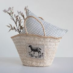 Corn Husk Tote Bag With Sheep Patch