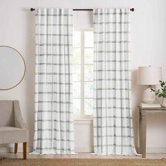 White/Grey Plaid Room Darkening Curtain Panel Set of 2 52x95