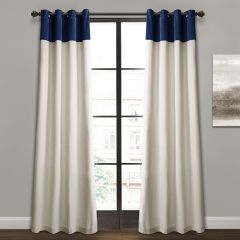 Color Block Linen Curtain Panel Set of 2