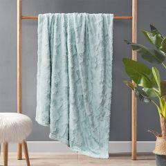 Faux Fur Farmhouse Throw Blanket Aqua