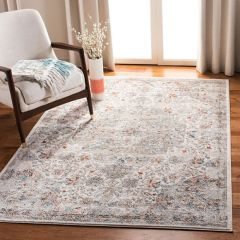 Faded Floral Motif Area Rug
