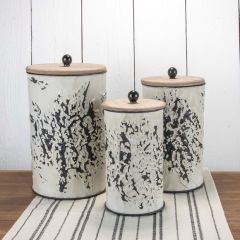 Floral Pattern Lidded Nesting Canisters Set of 3