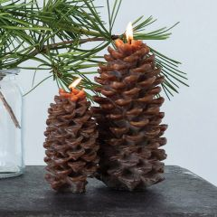 Fall Farmhouse Pinecone 8 Inch Candle Set of 2