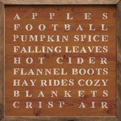 Fall Words Orange Framed Sign