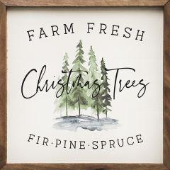 Farm Fresh Christmas Trees Framed Wall Sign