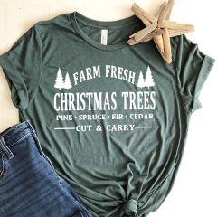 Farm Fresh Christmas Trees Holiday Tee Shirt, L