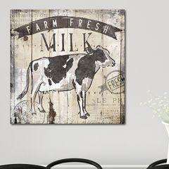 Farm Fresh Milk Canvas Wall Art