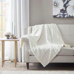 Farmhouse Classics Textured Plush Throw Blanket Ivory