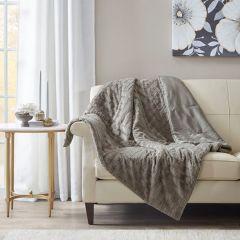 Farmhouse Classics Textured Plush Throw Blanket Grey