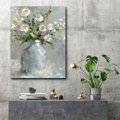 Farmhouse Flowers In Vase Canvas Wall Art