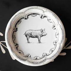 Farmhouse Pig Paper Dinner Plates Set of 12 Bundle