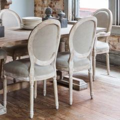 Farmhouse White Washed Dining Chair Set of 2 Bundle