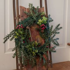 Faux Boxwood and Hemlock Wreath With Berries
