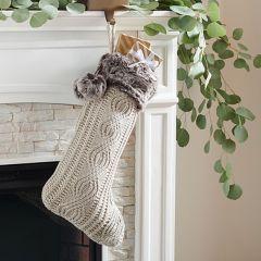 Faux Fur Trim Knit Stocking, Set of 2
