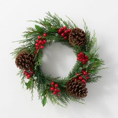 Faux Juniper Wreath With Berries and Pinecones
