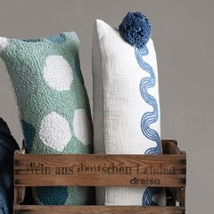 Embroidered Pattern Lumbar Pillow with Tassels