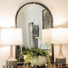 Arched Wall Mirror With Metal Trim