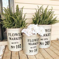 Flower Market Metal Buckets Set of 3