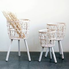 Bamboo Basket With Legs Set of 3