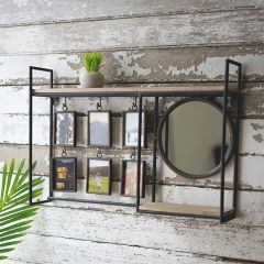Industrial Wall Shelf With Mirror And Photo Frames