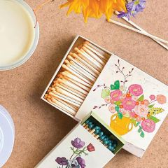 Floral Matchboxes With Safety Matches Set of 4