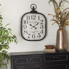 Antiqued Square Wall Clock