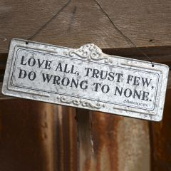 Hanging Stamped Metal Inspirational Sign Trust