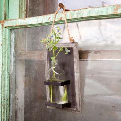 Metal-Backed Hanging Bottle Vase