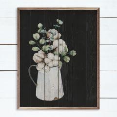 White Cotton Vase Black Wall Art